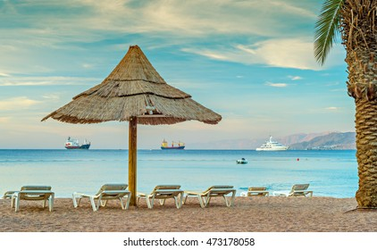 Morning at the public beach of Eilat - famous resort city in Israel