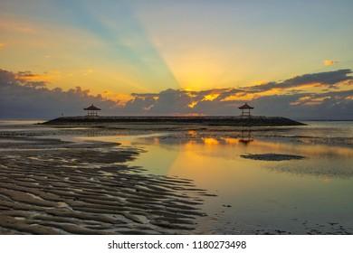 Morning Rays of Light (RoL) at Karang Beach, Sanur, Bali, Indonesia