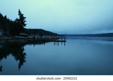 Morning reflections at Hood Canal in Washington