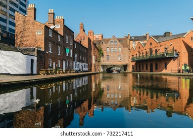 Morning reflections on Gas Street Basin, at the heart of Birmingham's canal network