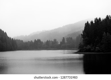In the morning at the reservoir. In the Background forest and mountains, black-and-white