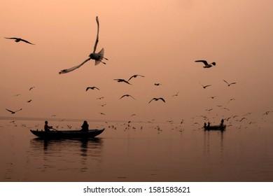 morning saga varanasi India uttarpradesh