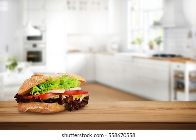 Morning sandwich on table in the kitchen
