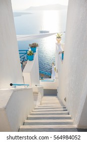 Morning in Santorini .View from the staairs trough the sea., Greek Islands