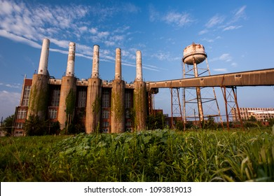 A morning scene of the derelict coal Power Plant at the long abandoned Indiana Army Ammunition Plant. The factory produced black powder and closed after the Vietnam War.