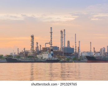 Morning scene of the oil refinery plant.