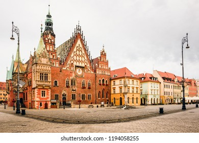 Morning scene on Wroclaw Market Square with Gothic Old Town Hall on market square. It was built in the 13th century, one of the main landmarks of the city