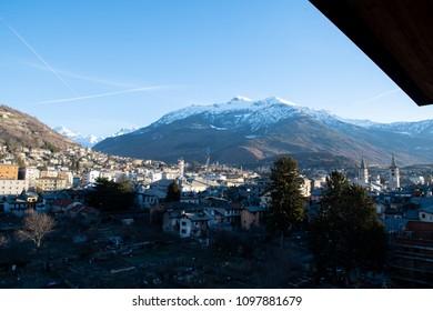 Morning scenery of Aosta in the spring, Aosta, Valle d'Aosta, Italy