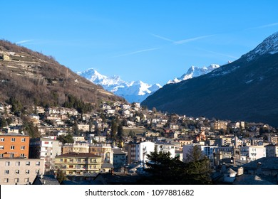 Morning scenery of Aosta in the spring, Aosta, Valle d'Aosta, Italy