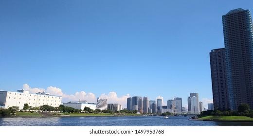 Morning scenery from Chuo Ohashi to Eiyo Bridge in Tokyo