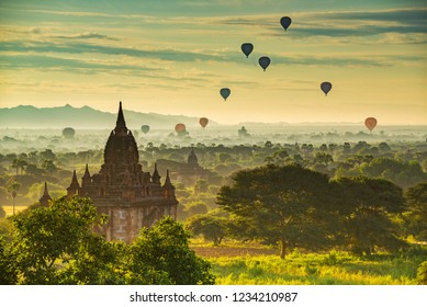 Morning scenery of Old Bagan, Myanmar