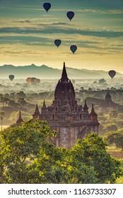 Morning Scenery of Pagoda and Hot-air Balloons in Old Bagan, Myanmar