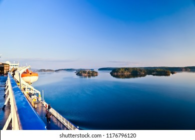 morning scenery of stockholm archipelagos viewed from cruise ship sweden