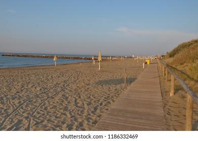 morning sea tourist beach, Eraclea Mare, Italy