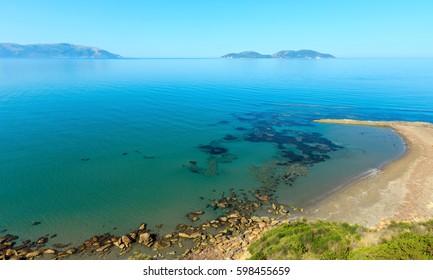 Morning sea rocky coast landscape (Narta Lagoon, Vlore, Albania).