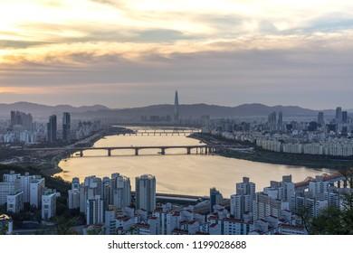 morning Seoul cityscape South Korea. Hangang River and bridge