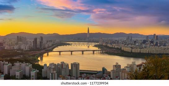 morning Seoulcity South Korea. Hangang River and bridge