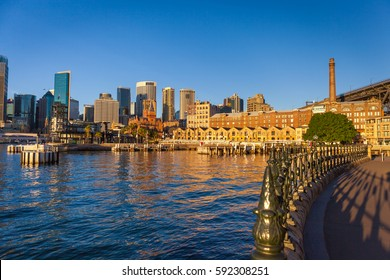 Morning shot of the Rocks, the historic area of the city center of Sydney, Australia