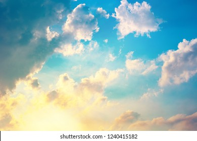 morning sky, sunlight shining on blue sky and clouds background