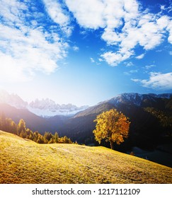 Morning in St. Magdalena village with Odle range. Location Val di Funes (Villnob), Dolomite alps, Trentino-Alto Adige, Italy, Europe. Scenic image of countryside area. Discover the beauty of earth.