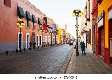 Morning streets in Puebla - one of the five most important Spanish colonial cities in the country. Famous history and architectural styles.