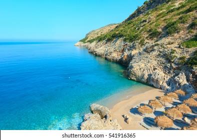 Morning summer Ionian sea coast top view with beach, Albania