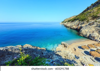 Morning summer  Ionian sea coast top view with beach, Albania