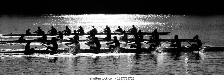 The morning sun behind college rowers competing on Lake Carnegie in Princeton, NJ