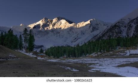 Morning sun light on Nanga Parbat mountain range, Fairy meadows, Gilgit, Balistan, Pakistan