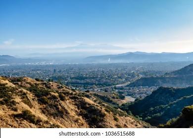 Morning sun over California suburbs in early spring