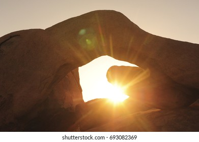 Morning sun shines through Arch Rock in Joshua Tree National Park.