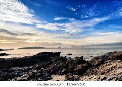 Morning sunrise and beautiful sea view at Rayong Beach, Thailand.