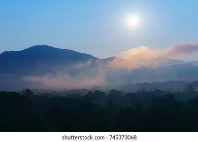 Morning sunrise fog landscape , Chiang Mai Thailand