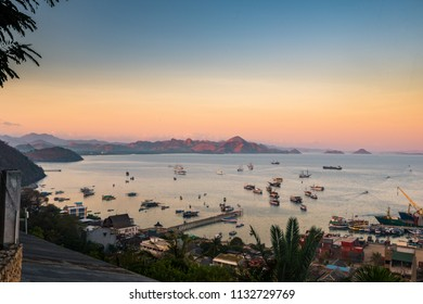 Morning sunrise in the harbour of Labuan Bajo Flores Indonesia