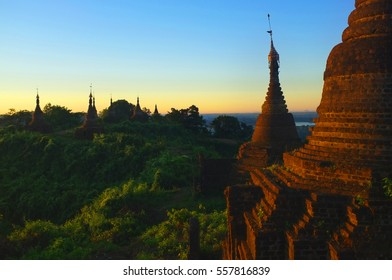 Morning sunrise on the Mrauk U sunrise hill, Myanmar
