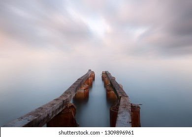 Morning and sunrise on a pier of Théoule-sur-Mer