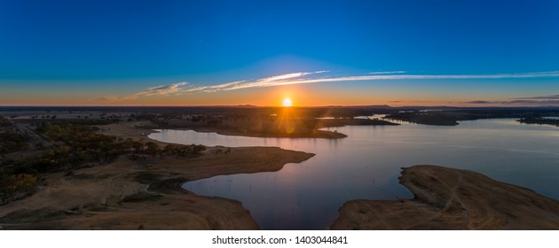 Morning Sunrise Over a Dry Lake Eppalock in Central Victoria