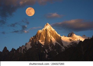 Morning sunrise over Paiyu peak in Karakoram mountain range of Pakistan