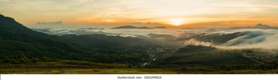 Morning sunrise at Ranau Paragliding Park. Taken at Sabah Borneo