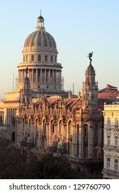 Morning Sunrise Reflecting Off The Gran Teatro de La Habana And The Capitolio Buildings With Central Park In The Shade