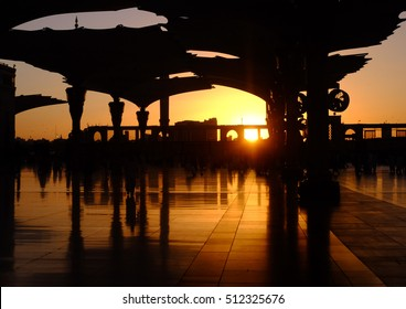 A morning sunrise scenery at Nabawi mosque next to the Baqi' cemetery in Madinah