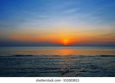 Morning sunrise seascape at Huahin, Thailand.