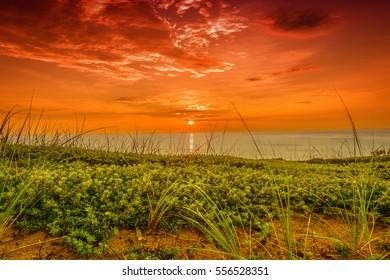 Morning Sunrise.  The sun rising over the Atlantic Ocean on Cape Cod.