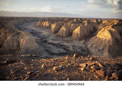 Morning sunshine on the Zhabyr Canyon (Yellow canyon) in National park Charyn,  Kazakhstan