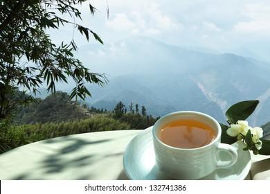 Morning tea in the mountains of Alishan in Taiwan