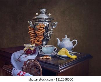 Morning tea at the samovar