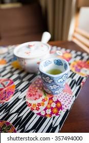 Morning Tea set on the table in Ryokan, Japan culture