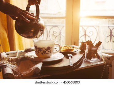 Morning tea with vintage tea props