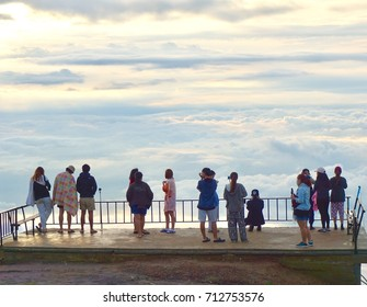 Morning time on famous travel location The landscape photo, beautiful sea fog in morning time at Phu Tub Berk Viewpoint.Camping Phu Tub berk ; Phetchabun province Thailand; Traveler are crowed.