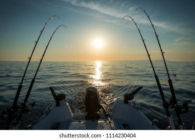 Morning trolling fishing on the lake
